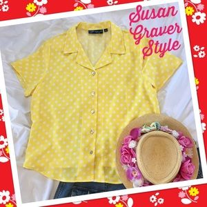 Summery Susan Graver Polka Dot Polyester Blouse